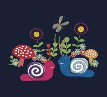 Kids Cute Fantasy Fairytale Snail Garden One Piece - Short Sleeve
