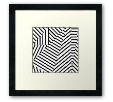 Modern Black and White Stripes Geometric Pattern Framed Print