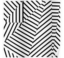 Modern Black and White Stripes Geometric Pattern Poster