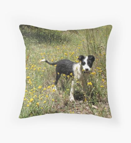 Pup and flowers by Joel Throw Pillow