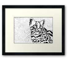 The Elusive Ocelot- Black &White Framed Print