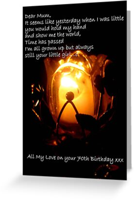 CandleGlow - Mother 70th Birthday Card by Vanessa Barklay