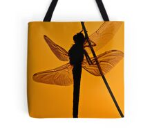 Dragonfly in sunset Tote Bag