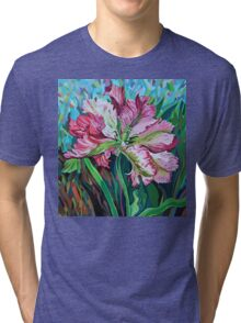 tulip in graphic style and abstract background Tri-blend T-Shirt