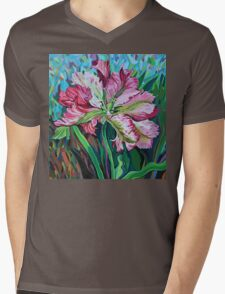 tulip in graphic style and abstract background Mens V-Neck T-Shirt