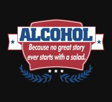 Funny Alcohol Salad T-Shirt Comedy Tees Humor Vintage by maikel38