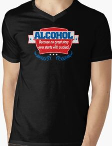 Funny Alcohol Salad T-Shirt Comedy Tees Humor Vintage Mens V-Neck T-Shirt