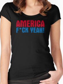 America Yeah Funny TShirt Epic T-shirt Humor Tees Cool Tee Women's Fitted Scoop T-Shirt