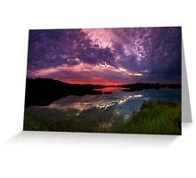 Hengistbury Head Purple Sunset Greeting Card