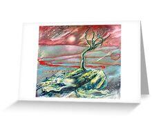 pink sun, blue tree. 24'' x 21''. oil on wood. Greeting Card