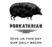 Porkatarian - Bacon Lover's Vintage Pig by AntiqueImages