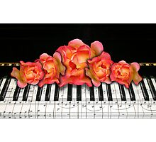 Piano Music Notes and Roses Photographic Print