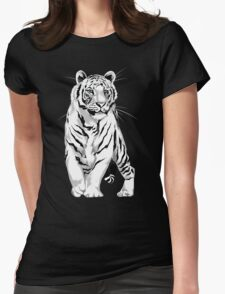 Stately White Tiger Womens Fitted T-Shirt