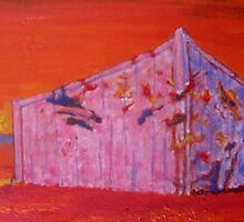 The Container At Sunset. by Richard  Tuvey