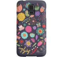 Bright Colored Flowers Floral Design Pattern Background Samsung Galaxy Case/Skin