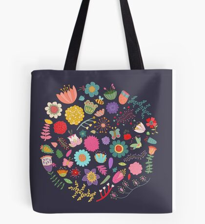Bright Colored Flowers Floral Design Pattern Background Tote Bag