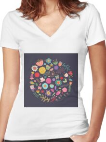 Bright Colored Flowers Floral Design Pattern Background Women's Fitted V-Neck T-Shirt
