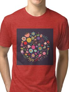 Bright Colored Flowers Floral Design Pattern Background Tri-blend T-Shirt