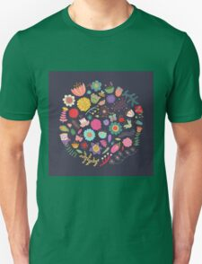 Bright Colored Flowers Floral Design Pattern Background Unisex T-Shirt