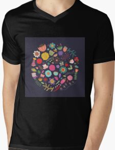 Bright Colored Flowers Floral Design Pattern Background Mens V-Neck T-Shirt