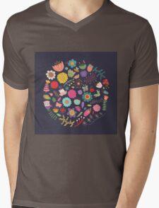 Bright Colored Flowers Floral Design Pattern Background Mens V-Neck T-Shirt