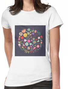 Bright Colored Flowers Floral Design Pattern Background Womens Fitted T-Shirt