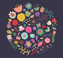 Bright Colored Flowers Floral Design Pattern Background by kennasato