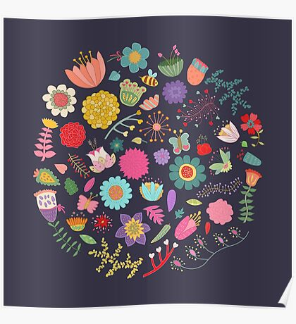 Bright Colored Flowers Floral Design Pattern Background Poster