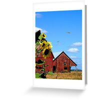 Red barns with flowers Greeting Card