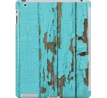 The texture of old wood with paint peeling off. Old wall. Aqua wall. iPad Case/Skin