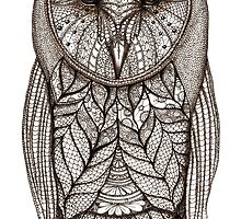 hand drawn portrait of an ornate decorated owl -sepia by maarta