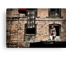 Nepalese Old Lady Canvas Print