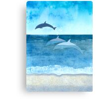 Three Dolphins Canvas Print
