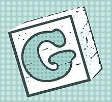 Child's Wood Block Pop Art Letter G by Anthony Ross