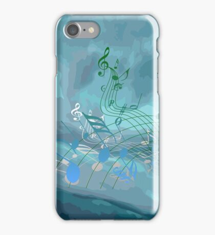 Blue & Green Music Notes Abstract iPhone Case/Skin