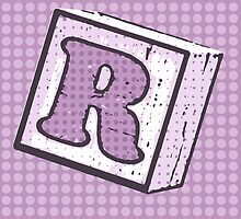 Child's Wood Block Pop Art Letter R by Anthony Ross
