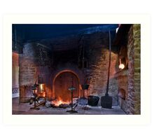 rustic fireplace in old farmhouse Art Print