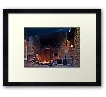 rustic fireplace in old farmhouse Framed Print