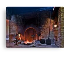 rustic fireplace in old farmhouse Canvas Print