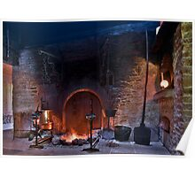 rustic fireplace in old farmhouse Poster