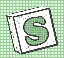 Child's Wood Block Pop Art Letter S by Anthony Ross