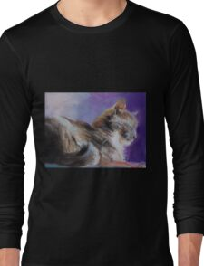Contented ( Cat ) From original pastel by Madeleine Kelly Long Sleeve T-Shirt