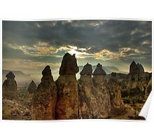 The fairy Chimneys in Cappadocia from a balloon Poster