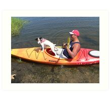 Dog on a Kayak Art Print