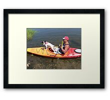 Dog on a Kayak Framed Print