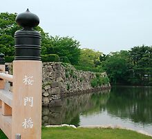 Moat Bridge at Himeji Castle  by jojobob