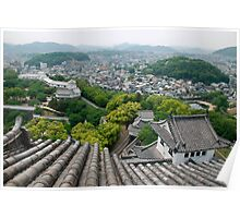 Roof View at Himeji Castle  Poster
