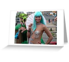 Silver mermaid at Coney Island Greeting Card