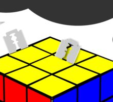 Rubik's Cube with razor blades! I fix it? Blood. Sticker