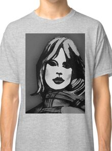 Blonde Girl Black And White Classic T-Shirt